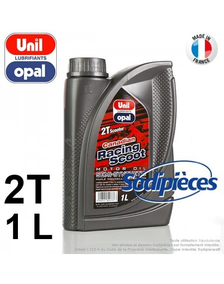 Huile semi-synthétique 2 temps Canadian Racing Scoot Unil Opal. 1 litre