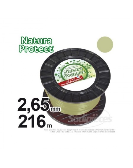 Fil Natura Protect Oxo-biodégradable, bobine rond 2,65 mm x 216 m