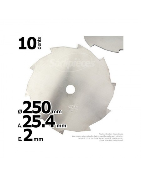 Lame disque 10 dents. Ø 250 mm. Al 25,4 mm. Ep 2 mm.