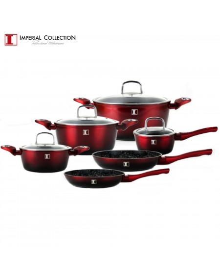 Imperial Collection IM-ST10-FMT: Ensemble de 10 Ustensiles de Cuisine en Aluminium Rouge/Noir